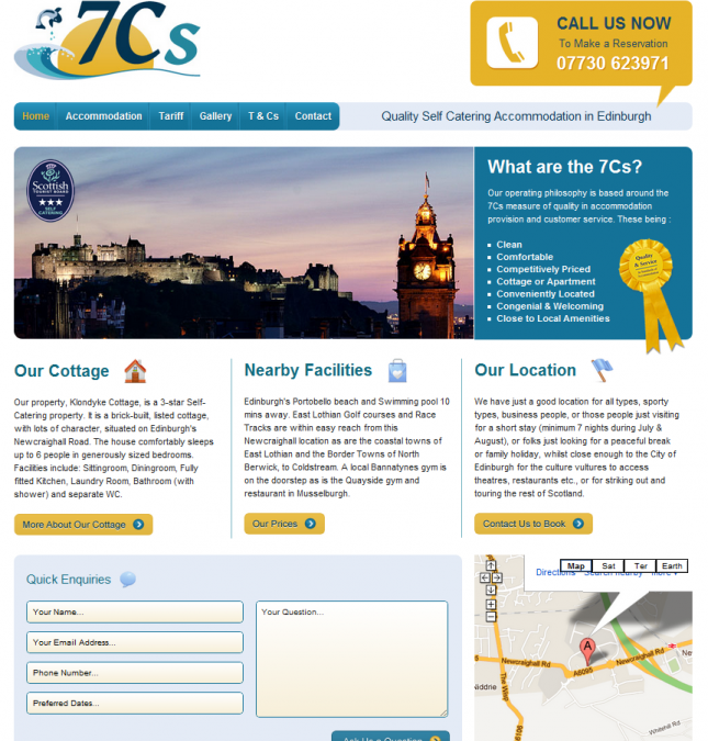 Affordable Web Design for 7Cs Self Catering Cottage