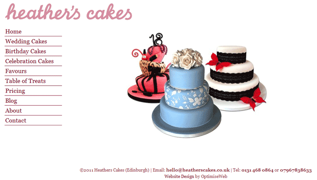 Bespoke WordPress Website for Heathers Cakes
